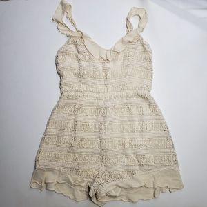 Astr Cream Crochet Lined Romper